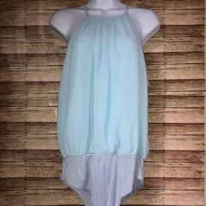Blue Blush Sleeveless Back Keyhole Bodysuit Sz L